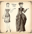 Vintage lady hand drawing vector image vector image