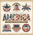vintage usa patriotic holidays labels set vector image