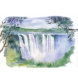 Watercolor of beautiful waterfall vector image