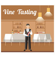 wine tasting banquet event flat banner vector image vector image