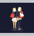 young girls with shopping bags vector image vector image
