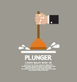 Plunger In Mans Hand Graphic vector image