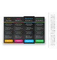 dark pricing table with 4 plans and one vector image