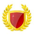 gold emblem of colorful shield vector image