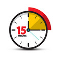 15 minutes clock icon fifteen minute symbol vector image vector image
