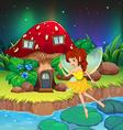 A fairy flying near the red mushroom house vector image vector image