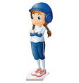 a female baseball player wearing blue uniform