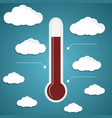 Abstract thermometer on the blue background vector image vector image