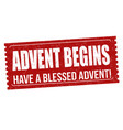 advent begins grunge rubber stamp vector image