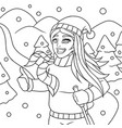 beautiful girl skiing doodle vector image