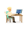 boy working at computer pupil of elementary vector image vector image