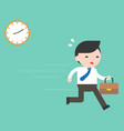 businessman hurry on work with clock flat design vector image