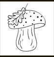 cartoon contour mushroom isolated on white vector image