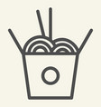 chinese noodles line icon noodle in box vector image