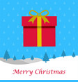 christmas card with pattern background and gift vector image