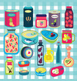 collection of various tins canned goods food vector image