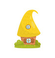 cute small house with yellow roof fairytale vector image vector image