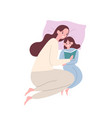 cute smiling mother and daughter in pyjamas lying vector image vector image