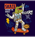 dino green t rex ride on space skateboard vector image