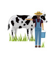 farmer taking care cow female farmer vector image vector image