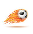 flying football or soccer ball on fire vector image vector image