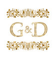 g and d vintage initials logo symbol vector image vector image