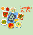 georgian cuisine dishes icon for dinner design vector image vector image