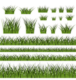 Green grass seamless pattern and bushes vector image
