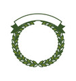 green olive branches forming a circle with ribbon vector image vector image