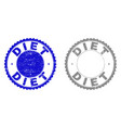 grunge diet scratched stamp seals vector image vector image