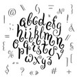 hand drawn alphabet in calligraphy brush template vector image vector image