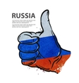 hand gesture thumb up flag of the Russia vector image vector image