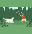 happy boy playing with cute dog at summer park vector image vector image