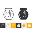 honey glass jar simple black line jam icon vector image