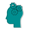 human head profile sideview with gears inside icon vector image vector image