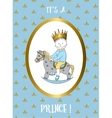Its a boy card Small prince riding rocking horse vector image vector image