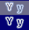 letter y on grey and blue background vector image vector image