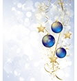 Merry Christmas card with blue bauble vector image