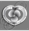 metallic heart with a fan and springs vector image vector image
