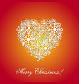 orange background with a heart from snowflakes vector image