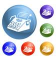 paper typewriter icons set vector image