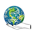planet earth in human hands vector image