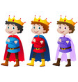 prince in three different costumes vector image
