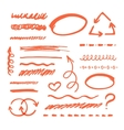 Red Marker strokes set vector image