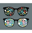 Retro sunglasses with snake and boy reflection vector image