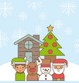 santa helper deer snowman cartoon house and tree vector image