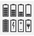 Set of battery charge level indicators isolated on vector image