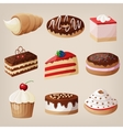 set of cakes cookies donuts pies vector image