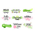 set of hello spring lettering vector image