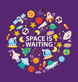 space objects and planets space is waiting poster vector image vector image